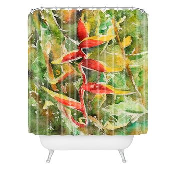 Rosie Brown Heliconia Shower Curtain