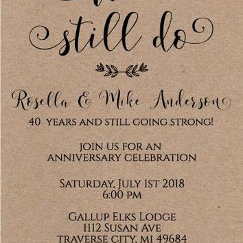 We Still Do Anniversary Invitations