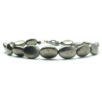 Pyrite Anklet 01 - Oval Fools Gold Clasp Beaded