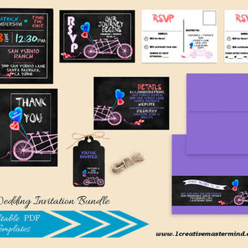DIY Wedding Invitation Bundle Template, RSVP, Details Card, Thank You, Instant Download, Digital, Tandem Bicycle for Two Collection #1CM82-1