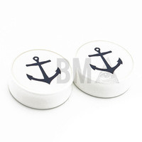 0g (8mm) Classic Anchor BMA Plugs Single Flare Pair