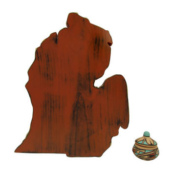 Michigan State shown in Brick and Mint Pine Wood Sign Wall Decor Rustic Americana Country Chic Alternative Wedding Guest Book