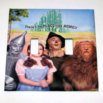 Double Light Switch Cover - Light Switch Plate Wizard of Oz There's No Place Like Home