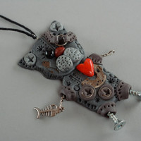 Steam punk polymer clay pendant in the shape of cat handmade neck jewelry gift