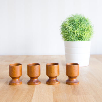 Vintage Swedish Teak Egg Cup Set of 4 Mid Century Modern Scandinavian