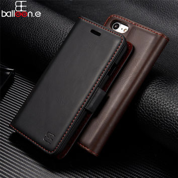Balleen.e Genuine Leather Phone Case For iPhone 7 7 Plus 6 6s Plus Wallet Card Holder Flip Stand Unique Design Magnet Phone Case