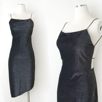 Vintage 90s Backless Metallic Bodycon Dress - 70s Disco Inspired Asymmetrical Hemline Club Dress - Size Small