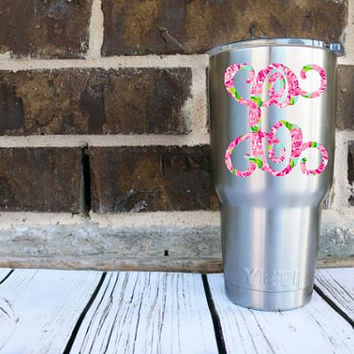 Single Initial Lilly Pulitzer Monogram Decal, Lilly Inspired , Lilly Pulitzer Decal, Lilly car decal, Lilly Pulitzer Yeti decal Custom Decal