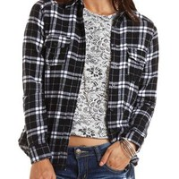Plaid Flannel Button-Up Top by Charlotte Russe - Black Combo