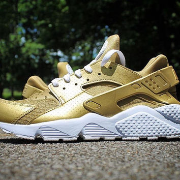 Gold Nike Huarache Run Triple White Custom