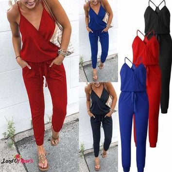 Women V Neck Solid Casual Sleeveless Pockets Long Romper