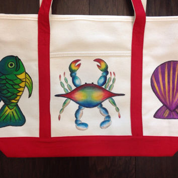 Tote Bag Hand Painted with Blue Crab, Fish and She'll
