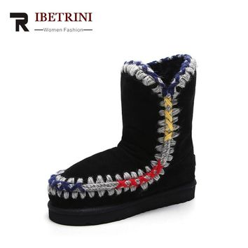 RIBETRINI 2017 Winter Fashion Cow Suede Sewing Ankle Snow Boots Platform Warm Fur Low Wedges Women Shoes Large Size 32-43