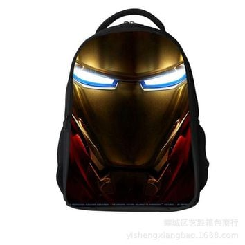 Student Backpack Children 2016 Heroes Iron Man Pattern Student Backpack Children Pupil School Bag Boys/Girl Backpacks Book Bags for Kids AT_49_3