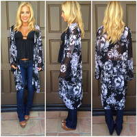 Ink And Water Long Kimono - BLACK