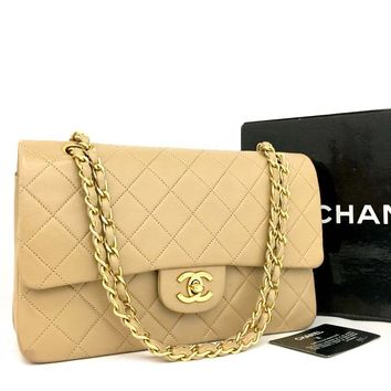 CHANEL Double Flap 25 Quilted CC Logo Lambskin w/Chain Shoulder Bag Beige/jCH x