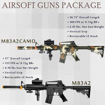 2 Pc Double Eagle M83a2 M4A1 & M4 M16  Airsoft Gun Electric Assault Rifle AEG