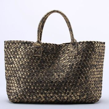 10 Colors Shinning Woven Leather Handbag Cross Stitch Hobo Women's Knitting Serpentine Bag Large Casual Tote
