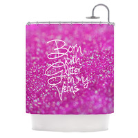 "Beth Engel ""Born with Glitter"" Pink Sparkle Shower Curtain"