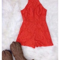 Laced In Love - Orange Romper