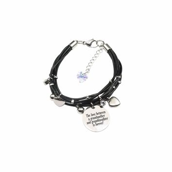 Genuine Leather Bracelet Made With Crystals From Swarovski - Love Between Grandmother
