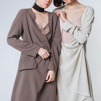 Brown Wrap Dress Taupe Midi Dress Loose Dress Elegant Evening Dress Long Sleeves Dress