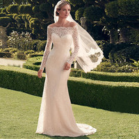 Elegant 2016 Lace Wedding Dress Full Sleeve Floor Length Boat Neck Sexy Long Sleeveless Mermaid Wedding Bridal Gowns
