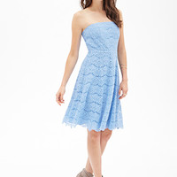 LOVE 21 Floral Lace Strapless Dress Periwinkle