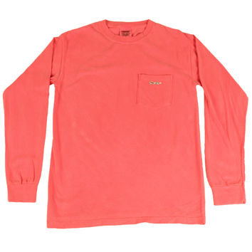Longshanks Sewn Patch Long Sleeve Pocket Tee Shirt in Crunchberry by Country Club Prep