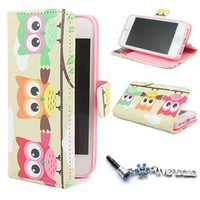"ivencase C38 Owl Design PU Leather Stand Case Cover for Apple iphone 5 5S + One"" ivencase ""Anti-dust Plug Stopper"