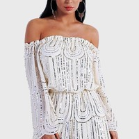 Embrace Me Off Shoulder Sequin Romper