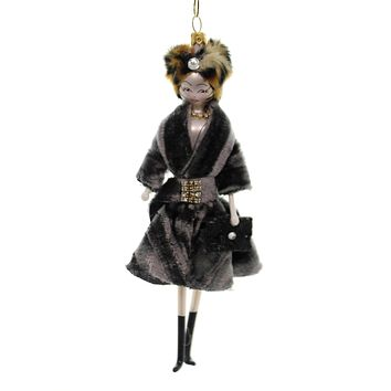 De Carlini LADY GREY VELVET COAT Glass Italian Do7515