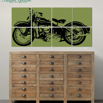 "NEW Vintage Harley Davidson Motorcycle Screenprint - XL 24""x48"" Garage Art"