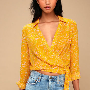 Corin White and Mustard Yellow Polka Dot Long Sleeve Wrap Top