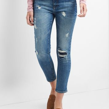 Mid Rise Best Girlfriend Jeans in Destructed Repair | Gap