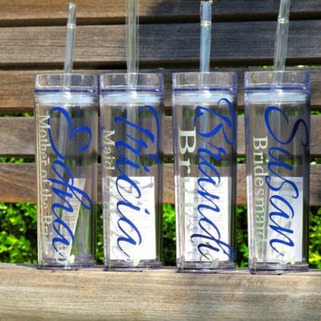 skinny tumbler, bridal cup, bridesmaid cup, bachelorette party cup, acrylic cup, tall tumbler, 16 oz cup, wedding party favor, holiday party