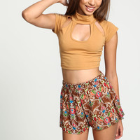 Brown Tapestry Woven Shorts