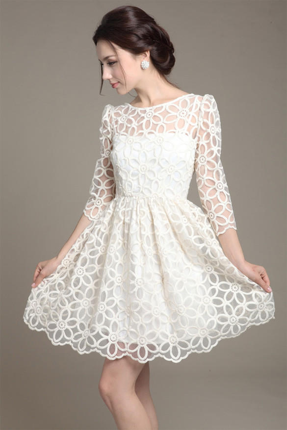 White long sleeve flower lace dress from harper lily white white long sleeve flower lace dress mightylinksfo