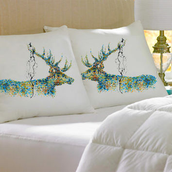 2 Colorful, Decorative, Stag, cotton, Pillowcase, pillow, case, cover, art, of, koby feldmos, 18X18 inch, 20X30 inch, color bedroom