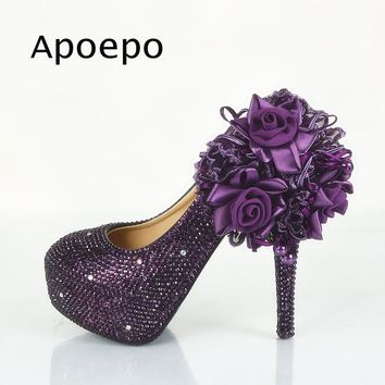 Apoepo Purple Lace Flower High Heel Shoe Woman Crystal Wedding Pumps 2018 Newest 14CM heels dress shoes platform sexy heels