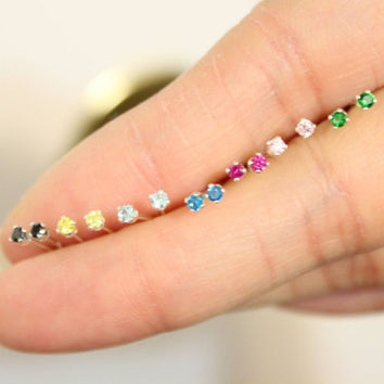 Sterling Silver 2mm CZ Stud Earrings , tiny stud earrings, birthstone stud earrings, teeny tiny studs, children jewelry, baby earrings