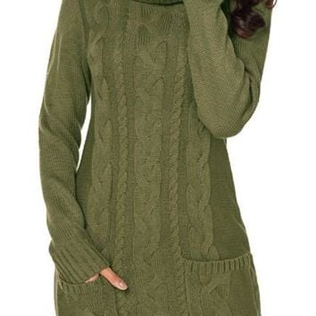 Chic Olive Cowl Neck Pocket Cable Knit Sweater Dress
