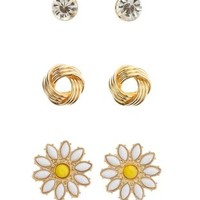 Gold Knot & Daisy Stud Earrings - 3 Pack by Charlotte Russe