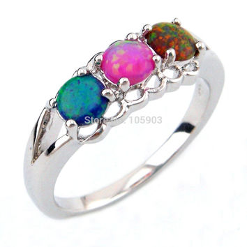fashion jewelry rings mexican opal rings ,blue pink AND fire opal rings