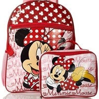 Disney Girls' Minnie Mouse Backpack with Lunch Bag Set