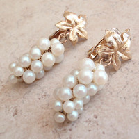 Grape Cluster Earrings Faux Pearls Wine Country Clip On Vintage