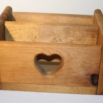 Wooden Desk Organizer, Mail and Letter Storage, Hand Made Box with Heart