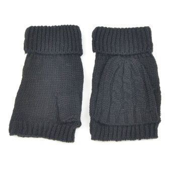 Black Fingerless Knit Gloves with Front Flap