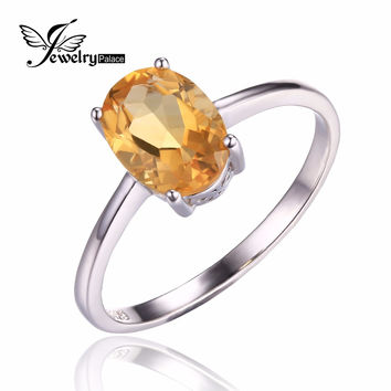High Quality Genuine Yellow Citrine Engagement Rings Oval Cut Solid 925 Sterling Silver Women Gemstone Jewelry Ring Size 6 7 8 9