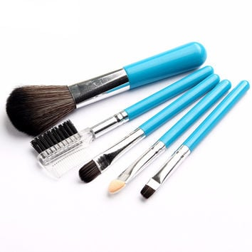 Profissional Mini 5Pcs Blue Makeup Brushes Cosmetics Tools Eyeshadow Eye Face Makeup Brush Gift Set Blush Soft Brushes Kit New